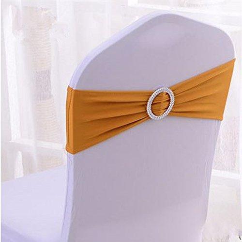 Grace Florist 50個スパンデックス椅子サッシwithバックルスライダサッシウェディングパーティー用Bowsホテルイベント装飾 Gold-yellow B07DPB2NCN