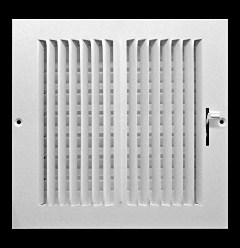 8w x 8h 2-Way FIXED CURVED BLADE AIR SUPPLY DIFFUSER - Vent Duct Cover - Grille Register - Sidewall or Ceiling - High Airflow - White