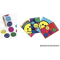3 Dozen (36) SMILEY FACE Mini Spiral NOTEBOOKS & 100 Stickers SMILE Emoticon Emoji Party FAVORS Classroom TEACHER Rewards