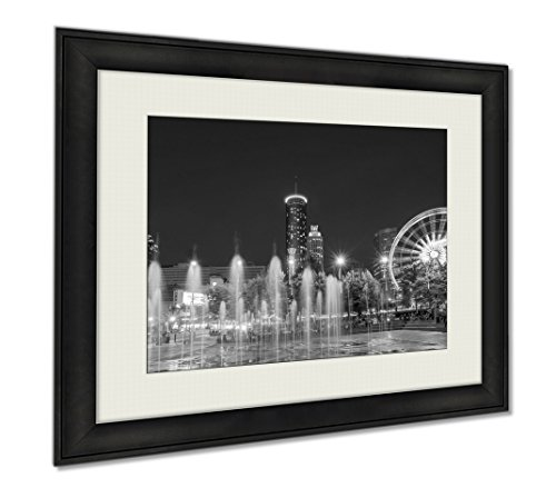 Ashley Framed Prints Centennial Olympic Park Atlanta During Blue Hour After Sunset, Wall Art Home Decoration, Black/White, 30x35 (frame size), - Downtown Plaza Hours