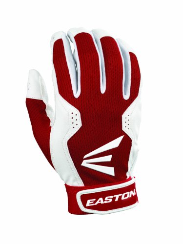 Easton Adult Typhoon III Batting Gloves (Small, White/Red)