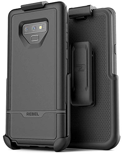 - Encased Rebel Case for Galaxy Note 9 Case with Belt Clip Holster, (Dual Layer Hybrid) Rugged Protective Cover with Shock Resistant TPU Lining for Samsung Note 9 Phone (Armada Black)