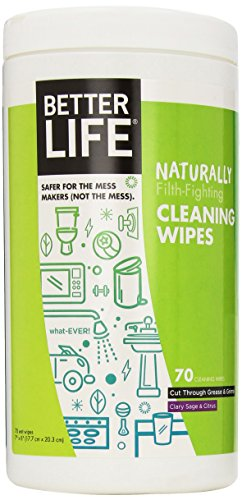 Wipes Cleaner (Better Life Natural All-Purpose Cleaner Wipes, Clary Sage & Citrus, 70 Count, 2408)