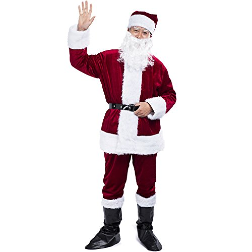 Adults Deluxe Santa Suit Men's Christmas Holiday Santa Claus (Naughty Santa Helper Outfits)