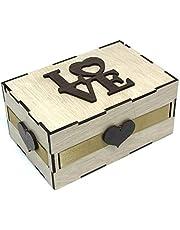 علبه هدايا خشبيه مستطيله الشكل , مقاس 14 فى 9 سم بارتفاع 7 سم