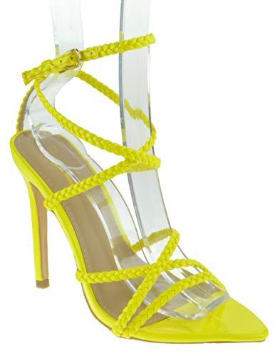 Glaze Charlotte 1 Womens Strappy Braided Buckle Pointed Toe Platform Heeled Dress Sandals Neon Yellow 8.5 ()