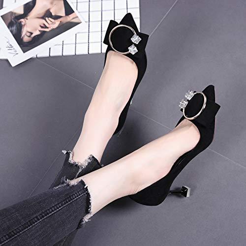 Yukun heels Single Bow Autumn High Shoes Rhinestone High Heels Black Fresh Wild Fashion Pointed Shoes Women Small Stiletto 6FFzr5qw