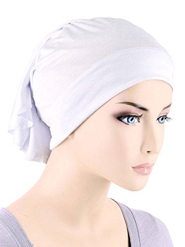 Womens Ruffle Chemo Hat Beanie Scarf, Turban Head Wrap for Cancer White