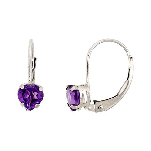(10k White Gold Natural Amethyst Leverback Earrings 5mm Heart Shape 1 ct, 9/16 inch)