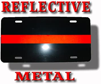 NEVER FORGOTTEN Thin Red Line Auto License Plate 6 X 12 Firefighters fire