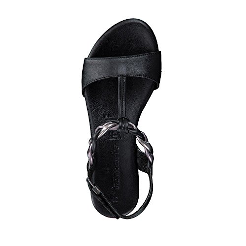 Tamaris 28709-20 098 Damen Sandale Aus Glattleder verstellbares Klettriemchen, Groesse 41, Schwarz/Bronze