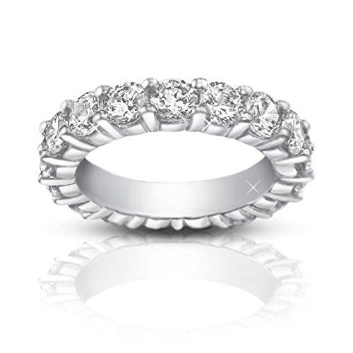 (4.00 ct Ladies Round Cut Diamond Eternity Wedding Band Ring in Platinum In Size 7)