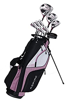 Aspire XD1 Ladies Womens Complete Right Handed Golf Clubs Set Includes Titanium Driver, S.S. Fairway, S.S. Hybrid, S.S. 6-PW Irons, Putter, Stand Bag, 3 H/C's Pink from Precise Golf