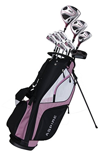 Aspire XD1 Ladies Womens Complete Right Handed Golf Clubs Set Includes Titanium Driver, S.S. Fairway, S.S. Hybrid, S.S. 6-PW Irons, Putter, Stand Bag, 3 H/C's Pink (Right Hand)