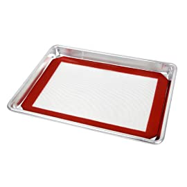 "New Star Foodservice 38422 Commercial-Grade 18-Gauge Aluminum Sheet Pan/Bun Pan & Silicone Baking Mat Set, 9"" L x 13"" W x 1"" H (Quarter Size) 1 QUALITY- Commercial grade, 18-gauge bakeware is made of pure aluminum which will never rust for a lifetime of durability. DURABILITY- Wire reinforced beaded rim helps prevent warping. Baked goods rise and bake evenly due to aluminum's superior heat conductivity. MULTI USE- More than a sheet pan, use for your cinnamon rolls, sticky buns, yeast rolls, brownies, corn bread, cookies and fruit cobblers."