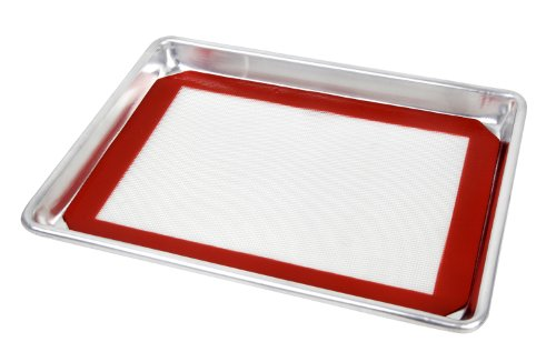 Bun Sheet Pan - New Star Foodservice 38446 Commercial 18-Gauge Aluminum Sheet Pan and Silicone Baking Mat Set, 15 x 21 inch (Two-Thirds Size)