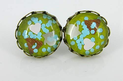 Antiqued Gold-tone Emoji Glitter Glass Stud Earrings Yellow Brown White Pink Blue -