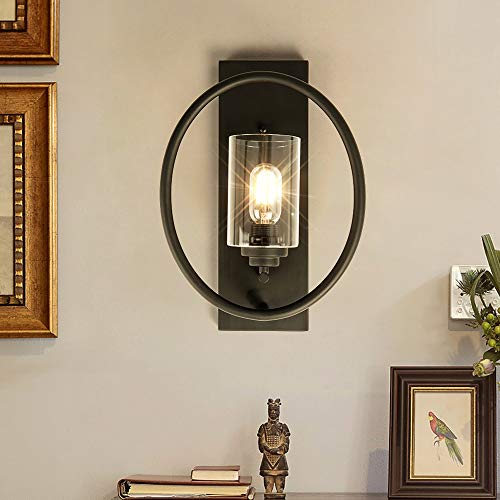 Black Iron Single Light Wall Sconce with Clear Glass Shade,Home Lighting Wall Light Lamp for Dining Room,Bedroom Bedside, Living Room, Hallway(1 Light,Black)