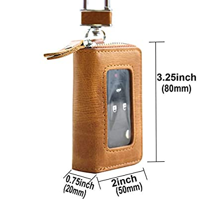 RAYSUN Premium Genuine Leather Car Smart Key Chain Coin Holder Case (Brown 1 Pocket with Window): Automotive