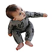 Goddessvan Newborn Toddler Baby Girls Boys Cartoon Bears Print Rompers Jumpsuit Outfit (Gray, 6M)