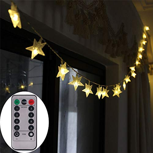 echosari [Remote & Timer] Battery Operated Christmas Star LED String Lights 16 Feet 50 LED Fairy String Lights for Indoor & Outdoor Garden, Wedding Decoration (Warm White) ()