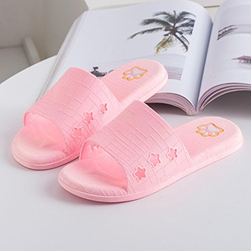 Fheaven Women Men Couples Flat Bath Slippers Summer Sandals Indoor Home Casual Home Casual Slippers Pink 3d6xe9eWH