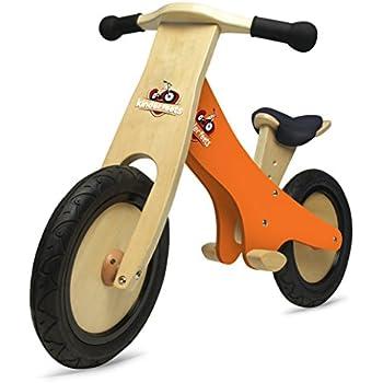 Kinderfeets Chalkboard Wooden Balance Bike, Classic Kids Training No Pedal Balance Bike, Orange