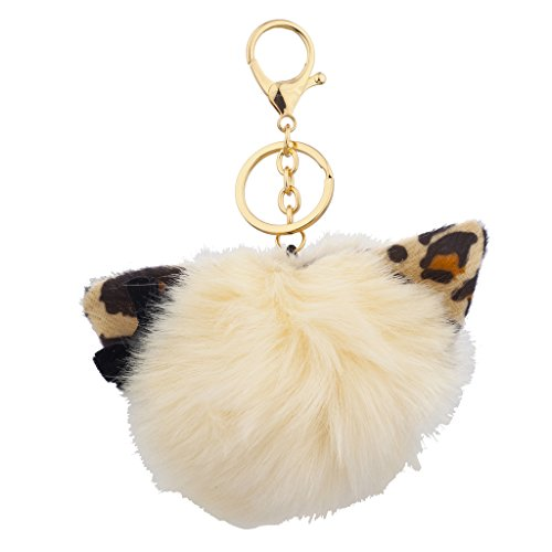 (Lux Accessories Faux Ivory Leopard Print Cat Ears Faux Fur Pom Pom Keychain Bag Charm)