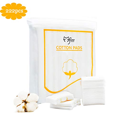 100% Pure Cotton Pads, Makeup Remover Pads,Biodegradable Cotton, for Cosmetic, Sensitive Skin,Nail, and Personal Care, Double-Side Save Water Soft Gentle Makeup Tools 222-Count ()
