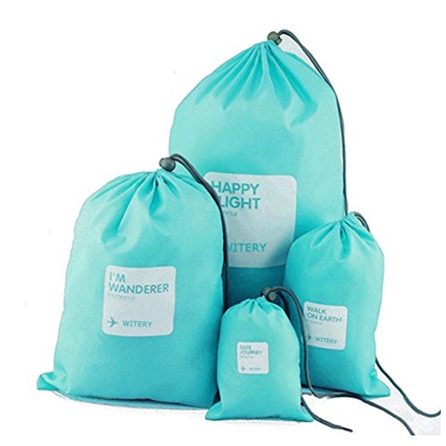 - WITERY Set of 4pcs Drawstring Bags, Set of 4pcs Waterproof Drawstring Bag/Shoes Underwear Makeup Laundry Storage Pouch Bags Organizers Gym Bag/Luggage Bags Set for Travel/Home Storage Blue