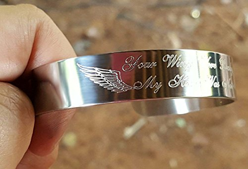 Your Wings Were Ready My Heart Was Not Cuff Bracelet Memorial Gift Loss of Loved One, Wings Engraved Grief Jewelry
