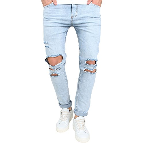 Just No Logo Men's Slim Fit Light Blue Ripped Jeans Destroyed Denim(32W,Sky - Denim Jean Blue