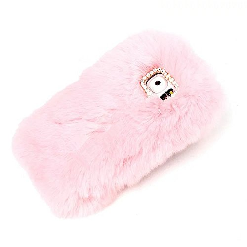 Rejected all traditions Lovely Diamonds Bow Bling Furry Rabbit Fur Shiny Plush Fluffy Soft Warm Case Back Cover for Samsung Galaxy Note 5 - Pink ()