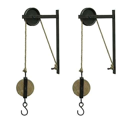 Special T Imports Metal Decorative Wall Hooks Pair Of Rustic Vintage Style Metal And Wood Pulleys And Hooks Wall Hanging 12.25 X 30.5 X 1.5 Inches Black