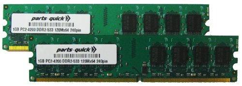 (2GB Kit 2 X 1GB DDR2 Memory for Desktop PC PC2-4200 533MHz 240 pin NON-ECC DIMM RAM (PARTS-QUICK BRAND))