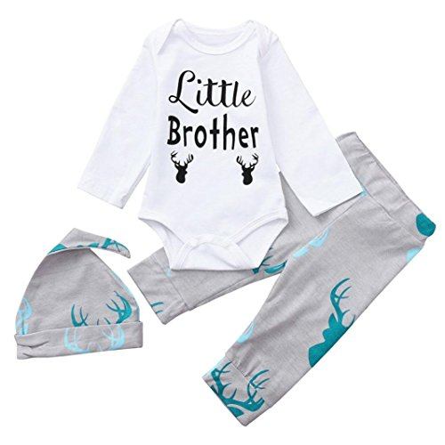 GoodLock Baby Boys Girls Fashion Clothes Toddler Letter Print Romper+Deer Head Print Pants+Hat Set 3Pcs (White, 12 Months)
