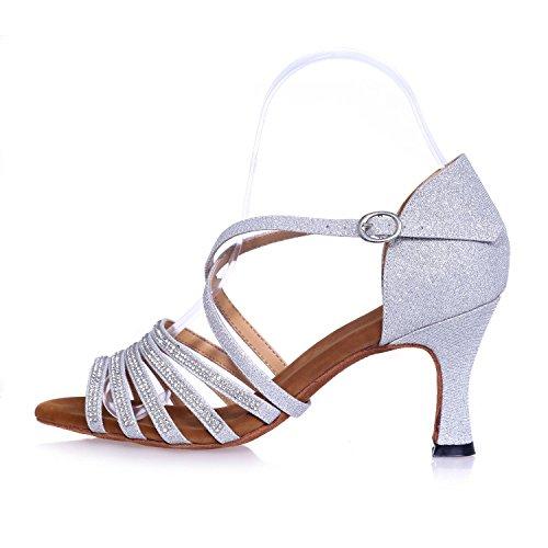 5 Talons Chantiers En Danse Chaussures Bleu Soie Svhs Chambre L Hauts Avec Grands Fine Latine 7 Femmes Sandales Flash w1qP4