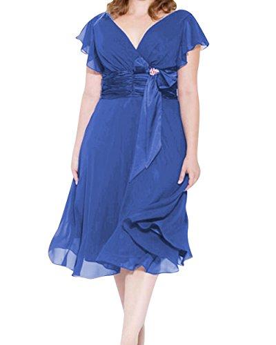 Chiffon Short Bridesmaid Size Plus A V Prom Dressyu Gown Blue Neck Dresses Line Women's 50qaTEH