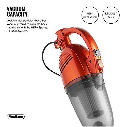 VonHaus Stick Vacuum Cleaner 600W Corded - 2 in 1 Upright & Handheld Vac with Lightweight Design, HEPA Filtration, Crevice Tool & Upholstery Brush