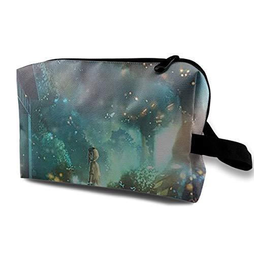 HONYE Fireflies and Girls Travel Makeup Unisex Storage Bag White -