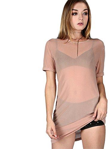6552a8321b MakeMeChic Women's Short Sleeve See Through Sheer Mesh T Shirt ...