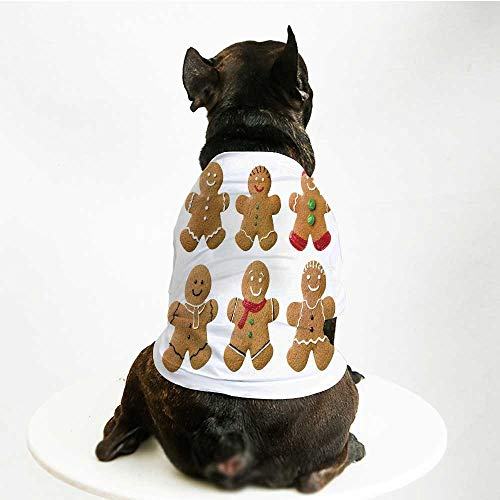 YOLIYANA Gingerbread Man Soft Pet Suit,Vivid Homemade Biscuits Sugary Xmas Treats Sweet Tasty Pastry Decorative for Cats and Dogs,L ()