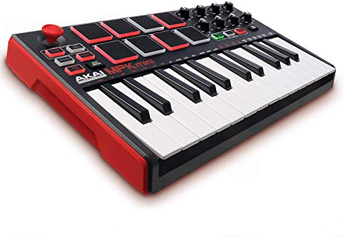Akai Professional MPK Mini MKII - 25 Key USB MIDI Keyboard Controller With 8 Drum Pads, 8 Assignable Q-Link Knobs and Pro Software Suite Included