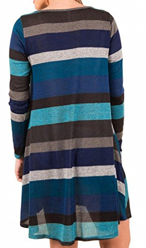 Casual Dress Domple Sleeve Stripes s Blue Crewneck Women Long Mini Loose pcqOzYW