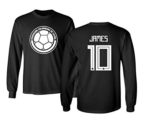 Tcamp Colombia 2018 National Soccer #10 James RODRIGUEZ World Championship Men's Long Sleeve T-Shirt (Black, Adult Small)