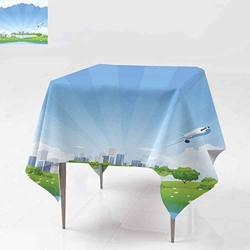 Fbdace Washable Square Tablecloth,Business City Landscape Party Decorations Table Cover Cloth 36x36 Inch -