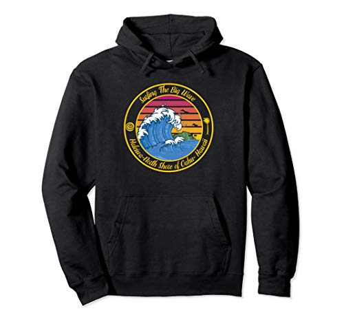 Hawaii North Shore Retro Hoodie Surfing The Big Wave (Hawaii North Shore Waves)