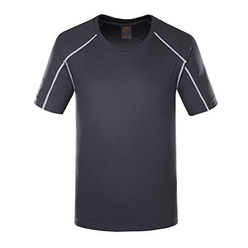 YAYUMI Summer New Outdoor Men's Quick-Drying Sports T-Shirt Fitness Shirt Dark Gray ()