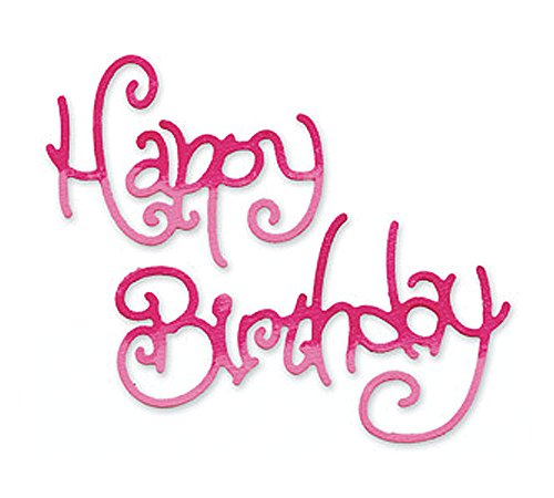 Ellison Sizzix Sizzlits Singles Die-Medium Phrase Happy Birthday #3