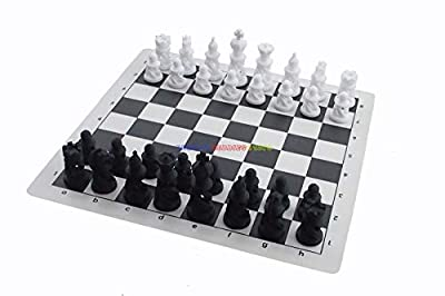 "Pasuk2788 New Vinyl Chess Board 14"" x 14"" w/ Plastic Spiral Chess Set King 7cm Height"